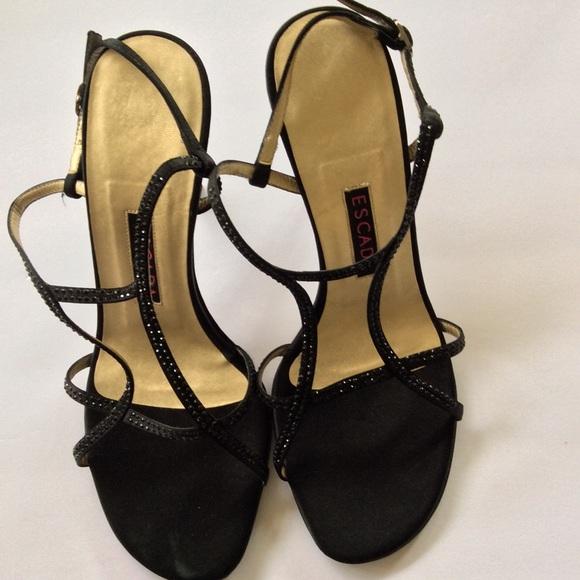 9180d1a6d5dc Escada Shoes - ESCADA SATIN BLACK CRYSTAL STRAPPY SANDAL